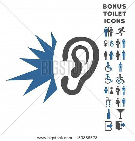 Listen Loud Sound icon and bonus gentleman and female restroom symbols. Vector illustration style is flat iconic bicolor symbols, cobalt and gray colors, white background.