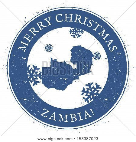 Zambia Map. Vintage Merry Christmas Zambia Stamp. Stylised Rubber Stamp With County Map And Merry Ch