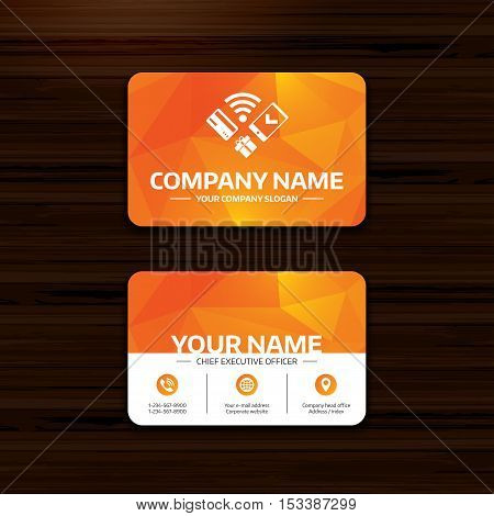 Business or visiting card template. Wireless mobile payments icon. Smartphone, credit card and gift symbol. Phone, globe and pointer icons. Vector