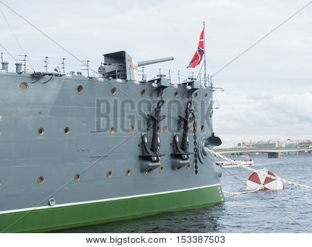 Saint Petersburg Russia September 12 2016: bow gun of the cruiser Aurora in St. Petersburg Russia.