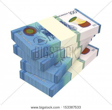 Nicaraguan cordoba bills isolated on white background. 3D illustration.