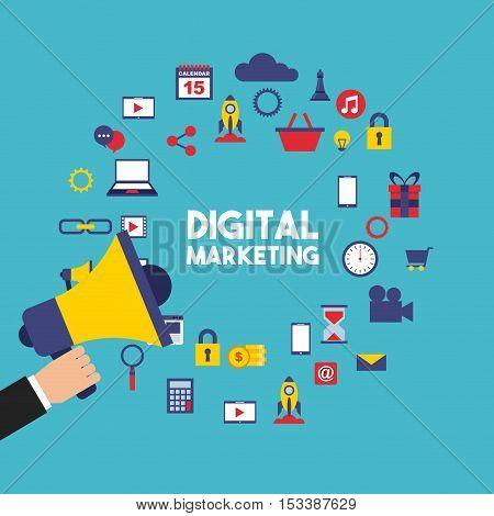 digital marketing set line icons vector illustration design
