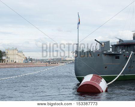 Saint Petersburg Russia September 12 2016: Bow gun of the Cruiser Aurora in Saint-Petersburg Russia