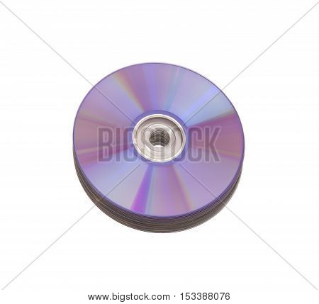 Stack of cd roms. CD & DVD disc on white background