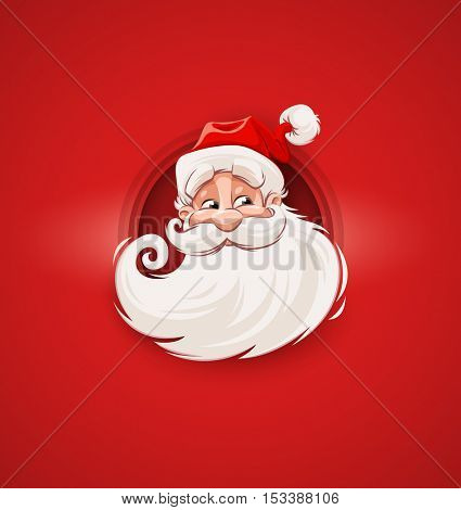 Smiling Santa Claus character head white beard and moustaches in traditional Christmas holiday suit on red background. Vector illustration
