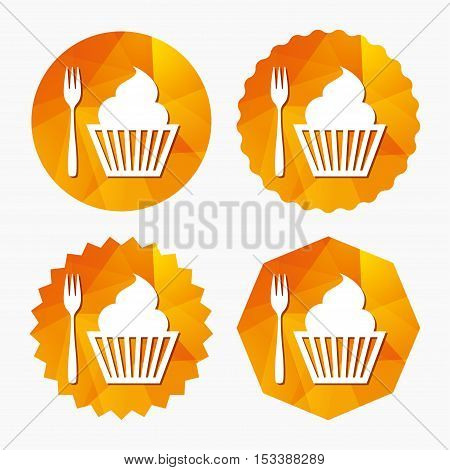 Eat sign icon. Dessert trident fork with muffin. Cutlery symbol. Triangular low poly buttons with flat icon. Vector