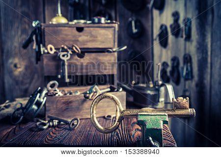 Aged Locksmiths Workshop With Tools, Locks And Keys