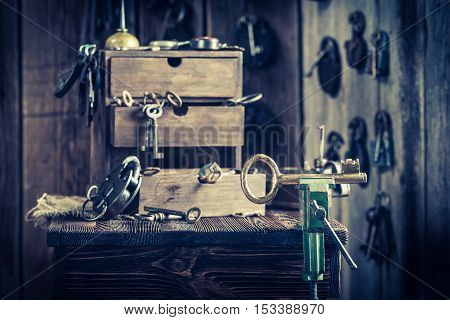 Aged Locksmiths Workshop With Keys And Locks