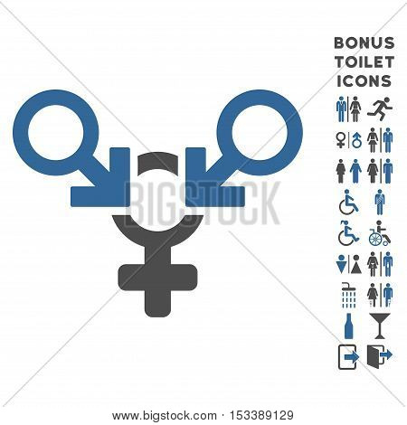 Polyandry icon and bonus male and female restroom symbols. Vector illustration style is flat iconic bicolor symbols, cobalt and gray colors, white background.