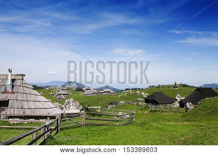 Velika Planina Or Big Pasture Plateau, Slovenia.