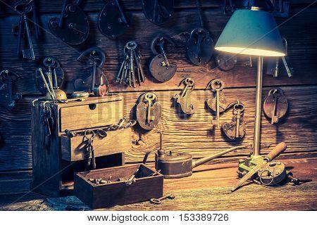 Tools, Locks And Keys In Small Locksmiths Workshop