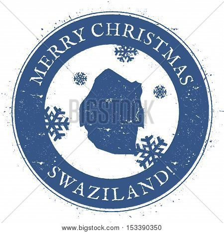 Swaziland Map. Vintage Merry Christmas Swaziland Stamp. Stylised Rubber Stamp With County Map And Me