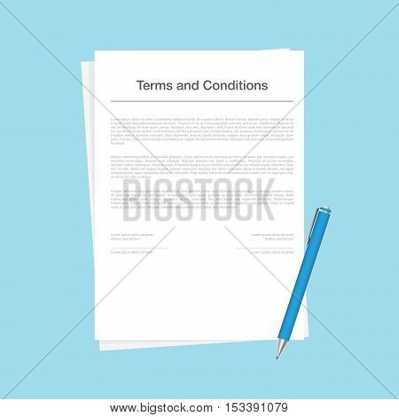 Contract or terms and conditions document isolated on blue background. The corporate form with a pen lying next to signing the contract. Vector illustration in flat style