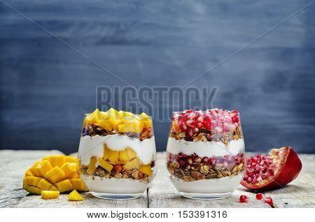 list of Greek yogurt granola parfait. Pomegranate and mango.