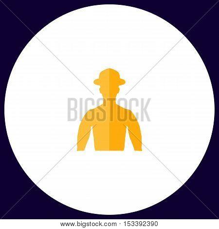 Cowboy Simple vector button. Illustration symbol. Color flat icon