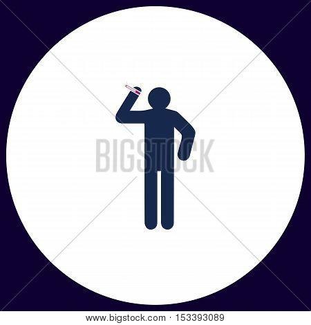 smoker Simple vector button. Illustration symbol. Color flat icon