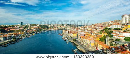panorama of Porto Portugal old town on the Douro river view from the Dom Luis bridge