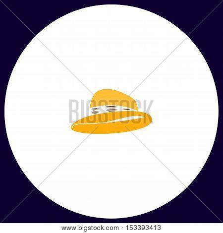 cowboy hat Simple vector button. Illustration symbol. Color flat icon