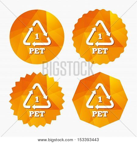 PET 1 icon. Polyethylene terephthalate sign. Recycling symbol. Bottles packaging. Triangular low poly buttons with flat icon. Vector