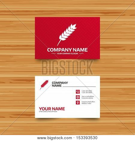 Business card template. Gluten free sign icon. No gluten symbol. Phone, globe and pointer icons. Visiting card design. Vector