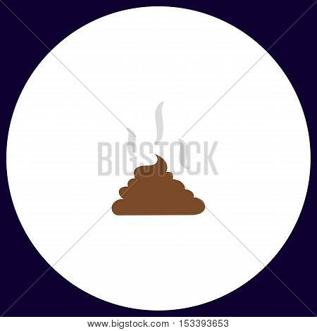 Poop Simple vector button. Illustration symbol. Color flat icon