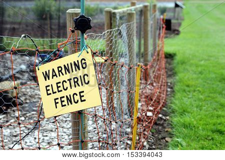 Warning Electric Fence Sign On Electric Fence