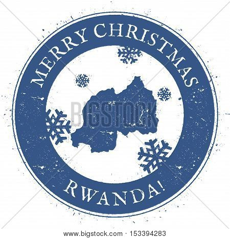 Rwanda Map. Vintage Merry Christmas Rwanda Stamp. Stylised Rubber Stamp With County Map And Merry Ch