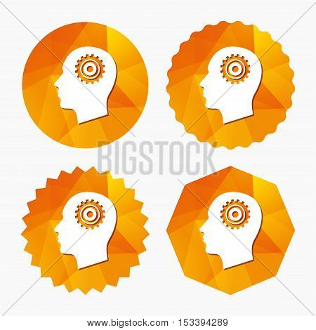 Head with gear sign icon. Male human head symbol. Triangular low poly buttons with flat icon. Vector