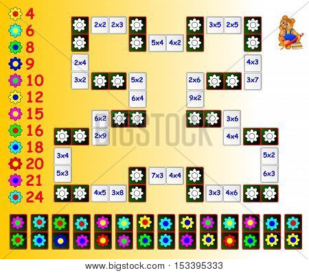 Exercise for children with multiplication. Paint the flowers on corresponding colors using the remaining dominoes. Need to close the circuit. Vector image.