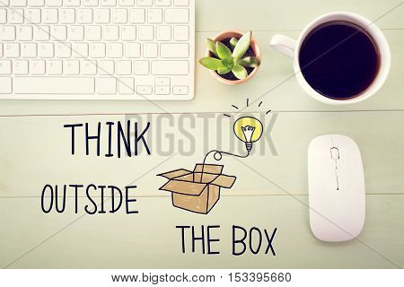 Think Outside The Box Concept With Workstation