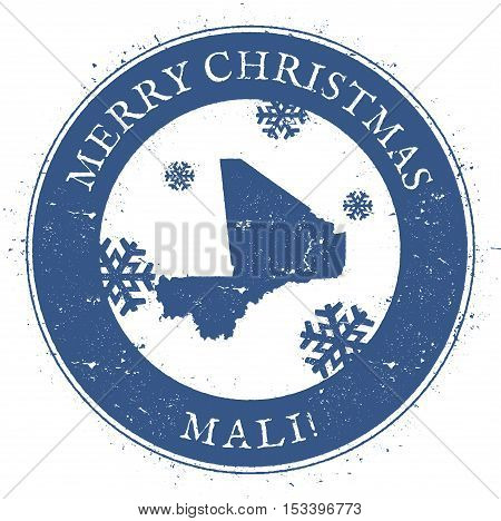 Mali Map. Vintage Merry Christmas Mali Stamp. Stylised Rubber Stamp With County Map And Merry Christ