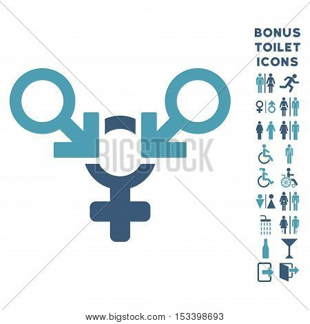 Polyandry icon and bonus male and lady restroom symbols. Vector illustration style is flat iconic bicolor symbols, cyan and blue colors, white background.