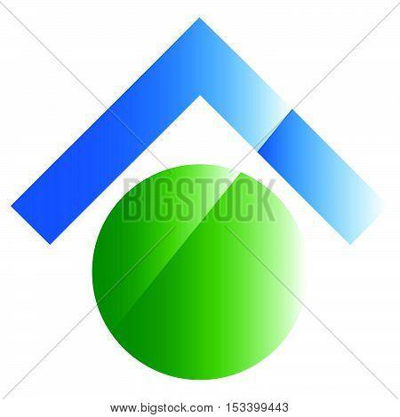Conceptual Real Estate Icon, Logo. Home Button. Generic Logo, Emblem With Up Arrow.