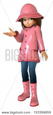 Cute cartoon girl with raincoat 3D illustration