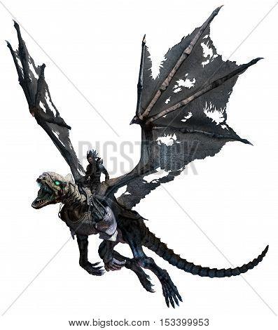Flying skeletal dragon with rider 3D illustration