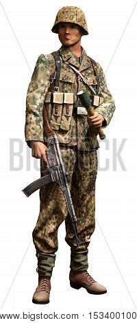 German SS infantry soldier  from the 2nd world war 3D illustration