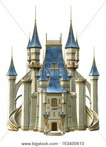 Fairy tale castle in blue and white 3D illustration