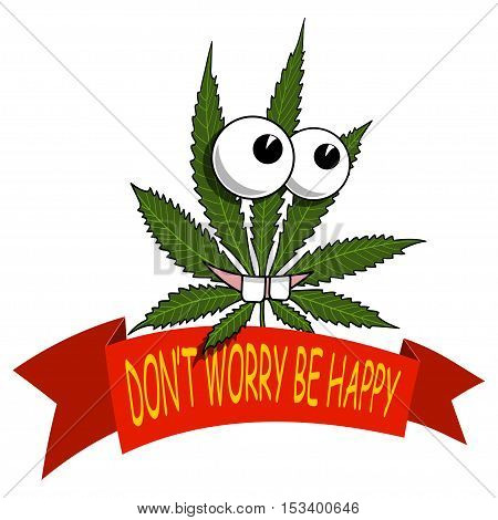 Illustration of marijuana as a smiling cartoon on a white background.