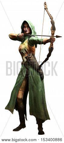 Elf ranger aiming a bow 3D illustration
