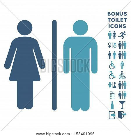 WC Persons icon and bonus male and lady WC symbols. Vector illustration style is flat iconic bicolor symbols, cyan and blue colors, white background.