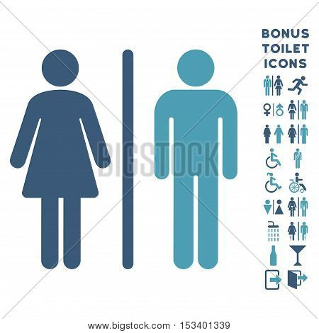 WC Persons icon and bonus gentleman and female WC symbols. Vector illustration style is flat iconic bicolor symbols, cyan and blue colors, white background.