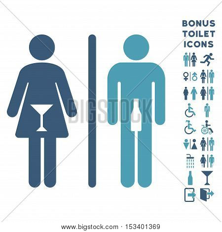 WC Persons icon and bonus man and lady WC symbols. Vector illustration style is flat iconic bicolor symbols, cyan and blue colors, white background.