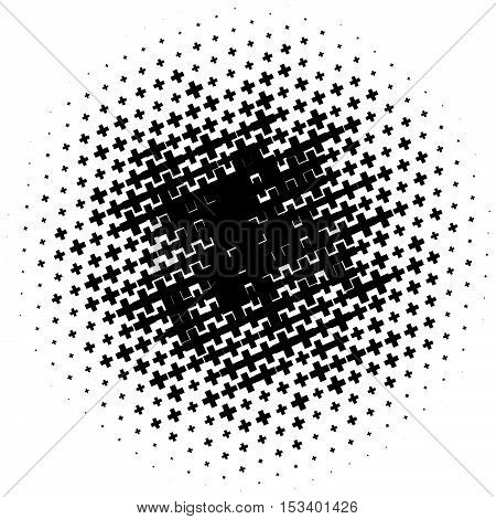 Halftone Pattern Made Of Crosses. Monochrome Halftone Pattern / Texture.