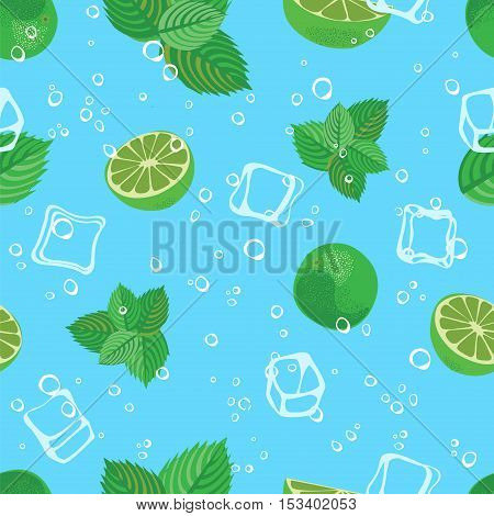 Mojito cocktail lime mint and ice blue water seamless vector pattern. Mojito lime background.