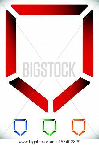 Contour Shield Icon In 4 Color - Security, Defense Icon, Logo.
