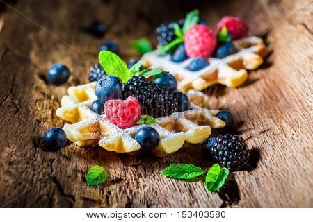 Homemade Waffels With Berry Fruits In Waffels