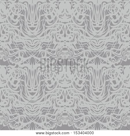 Abstract gray lace, silver moire vector pattern. Abstract curve black lines wave background. Rorschach test pattern.