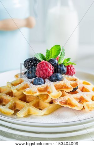 Homemade Berries With Waffels And Mint Leaves
