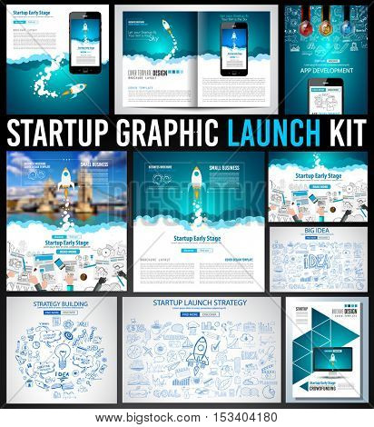 Startup Graphic Lauch Kit with Landing Webpages, Corporate Design Covers to use for web promotons, printed related materials or company presentation. Space for text.