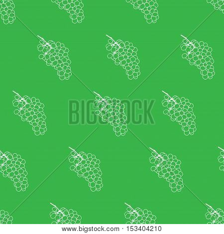 Green and white grape seamless vector pattern background. Grape wine pattern. Flat grape wine illustration.